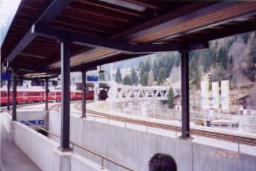 Concrete bridge at Klosters resembles covered bridge. Photo by Lisette Keating April, 2005