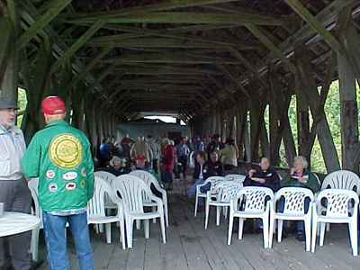1st VCBS all member meeting held in Lyndon's Sanborn Bridge: Photo by David Guay, 9/16/00