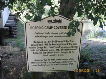 Roaring Camp Sign. Photo by the Keatings May, 2008