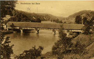 Historical picture of the Neubrücke by the woods of Bremgarten near Bern taken in 1913