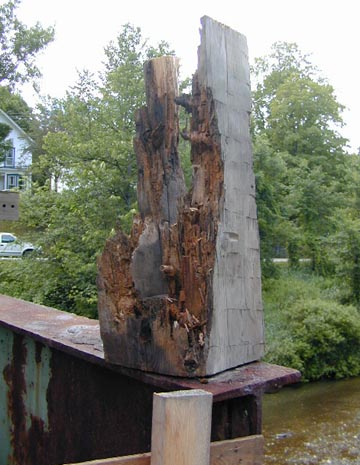 Rotted beam-end. Photo by Joe Nelson,July 5, 2000.